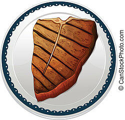 a steak and a plate - illustration of a steak and a plate on...