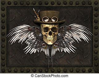 Steampunk Skull - A Steampunk Skull on a metal plate...
