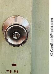 A steel door knob are locked
