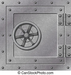 A Steel Strong Box Door with Hinges and Rivets