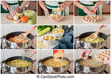 A Step by Step Collage of Making Soup with Zucchini, Pasta and Meatballs