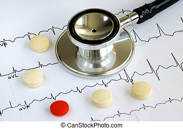 A stethoscope on the top of the EKG chart with pills
