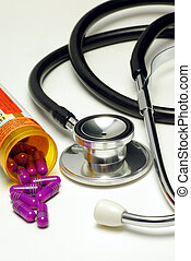 A stethoscope with medicine