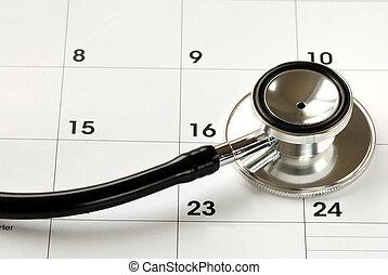 a, stethoskop, auf, der, kalender, begriffe, von, medizin,...