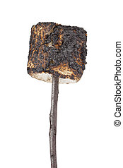 a stick of grilled marshmallow - Portrait of a stick with a...
