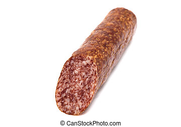 A stick of smoked sausage on a white background