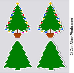 a sticker decorative fir with and w