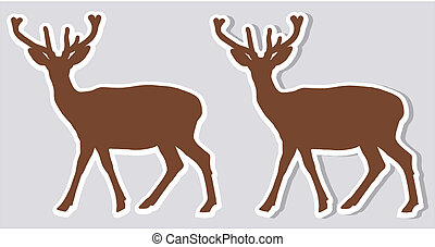 a sticker deer with and without shadow