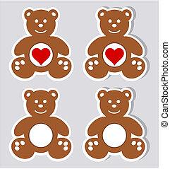 a sticker happy teddy plush with an