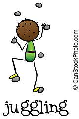 A stickman juggling