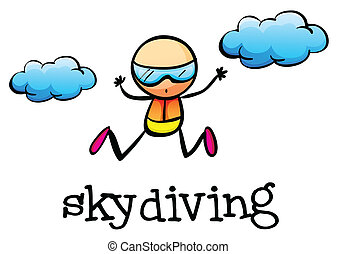 A stickman skydiving