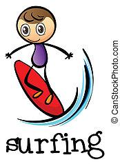 A stickman surfing