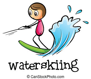A stickman waterskiing