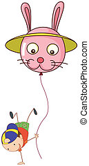 A stickman with a balloon