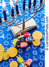 A still life composed of elements of the Jewish Chanukah/Hanukkah festival.