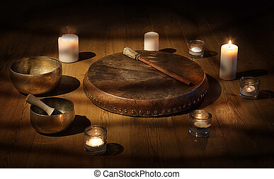 A still life of the shamanic drum and Tibetan singing bowls...