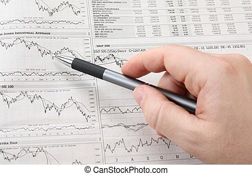 a stock market chart and hand with pen
