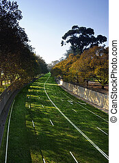 a highway covered in grass to say good bye to cars. - A ...