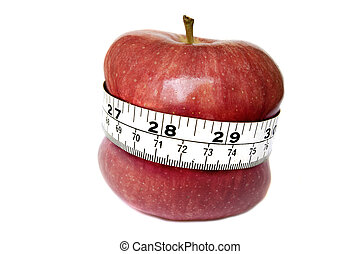 A stock photograph of an apple digitally manipulated tosuggest weight loss.