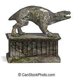 a stone creature - the gargoyle. 3D rendering with clipping...