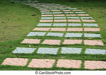 A stone walkway in the garden