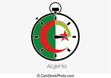 Stopwatch with the flag of Algeria