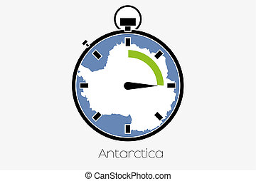 Stopwatch with the flag of Antartica - A Stopwatch with the...