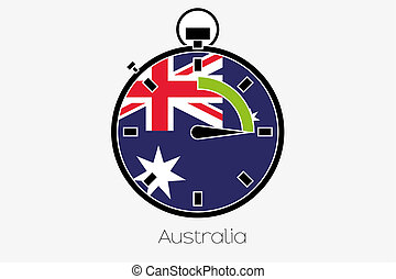 Stopwatch with the flag of Australia