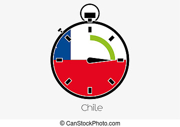 Stopwatch with the flag of Chile