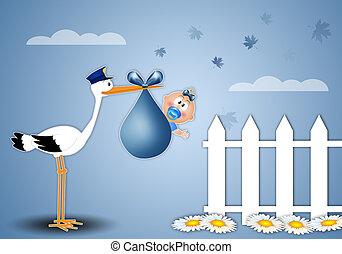 a stork delivering baby boy at home - illustration of a...