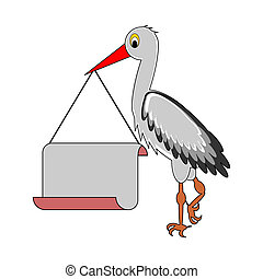 A stork holding a big blank paper