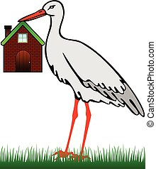 A stork with a house