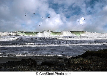 tidal wave - a storm tidal wave on the west coast of ireland...