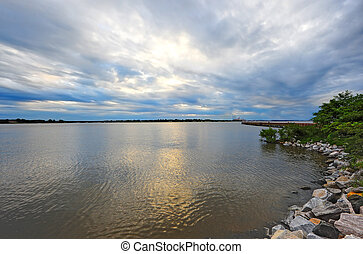 A stormy sunset on the Chesapeake Bay, Maryland - Storms and...