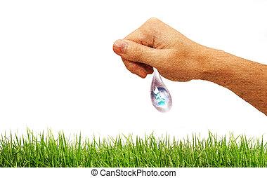 a, stort, tappa av bevattnar, hands., den, symbol, av, miljö- skydd