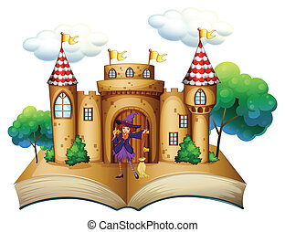 A storybook with a castle and a witch - Illustration of a...