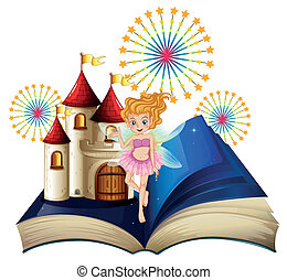 A storybook with a fairy, a castle and fireworks -...