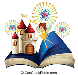A storybook with a flying fairy near the castle with...