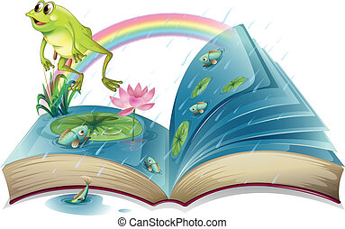 A storybook with a frog and fishes at the pond