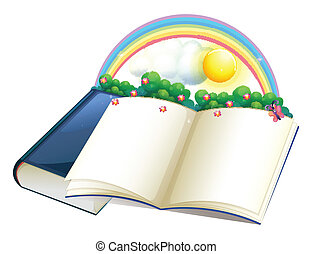 A storybook with a rainbow and plants - Illustration of a...