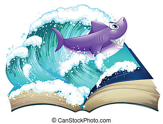 A storybook with a shark and a big wave - Illustration of a...