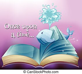 A storybook with a whale