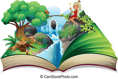 A storybook with an image of nature and a fairy -...