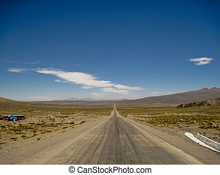 A straight Highway in the Andes of  Peru