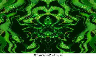 A strange and hallucinatory dream in a kaleidoscope with green forms - animation