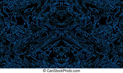 A strange dream with psychedelic form in blue light and hallucinatory with kaleidoscope - animation