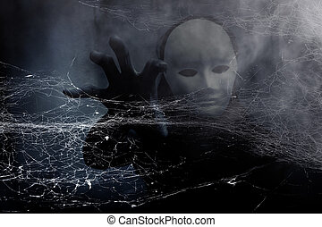 A stranger woman in white mask