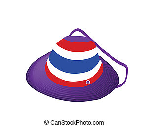 A Straw Hat of Thai Flag on White Background