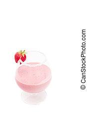 a strawberry milkshake isolated on white