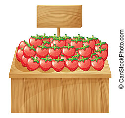 A strawberry stand with an empty wooden signboard